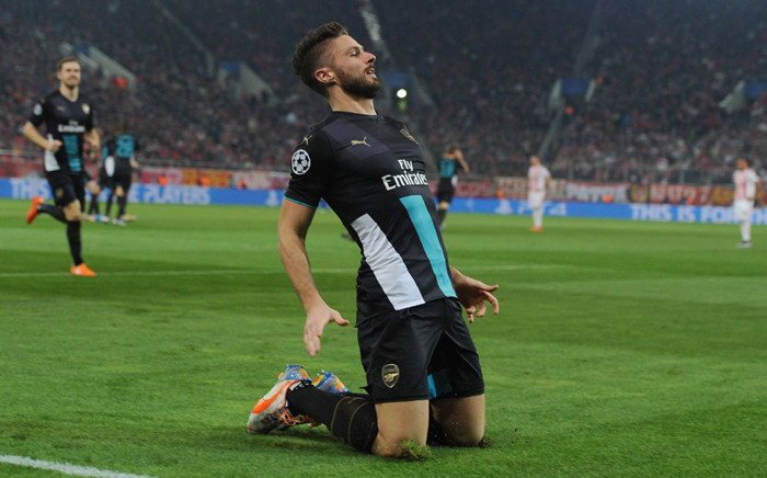 Olivier Giroud grabbed a superb hat-trick as Arsenal crushed Olympiakos Piraeus 3-0 in the Uefa Champions League on 9 December 2015. Picture: Arsenal official Facebook page.