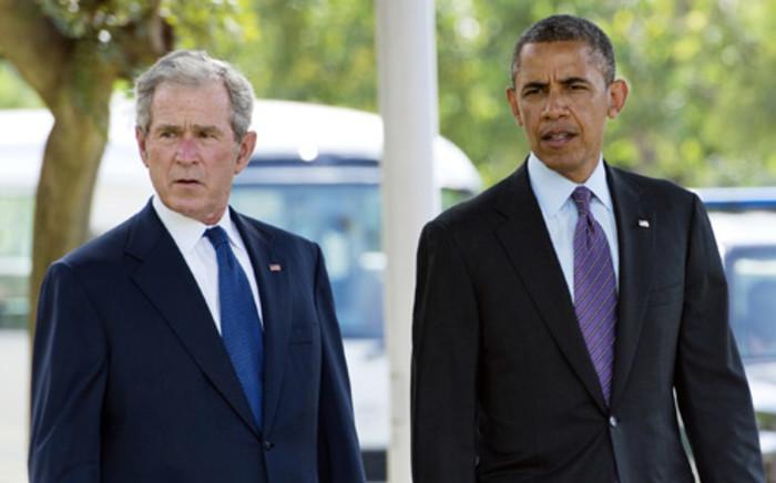 US President Barack Obama and former US President George W Bush. Picture: AFP.