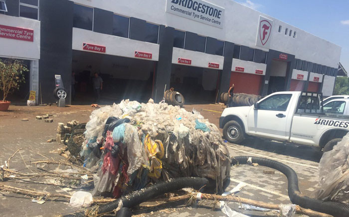 The Bridgestone Tyres service centre in Edenvale is one of a few businesses that have been severely affected by Wednesday's heavy rains. Picture: Thando Kubheka/EWN.