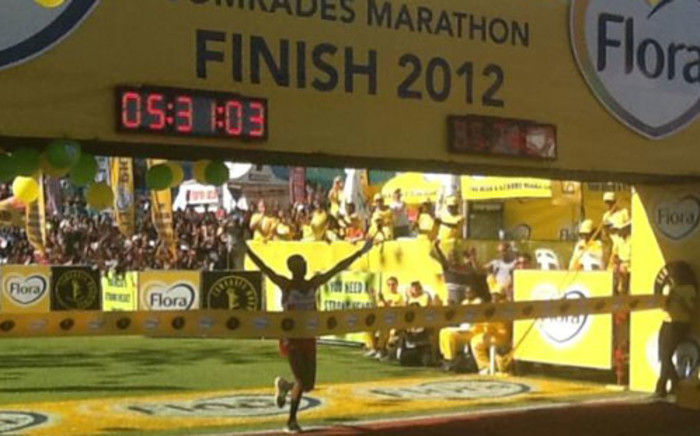 South African Ludwick Mamabolo was the men's winner at the the 89 kilometre Comrades race on 3 June 2012. Picture: Lena Faber/Twitter