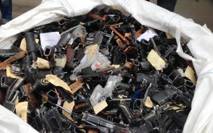 Over 9,000 illegal guns were destroyed in the Vaal on 16 January,2015. Picture: Vumani Mkhize/EWN.