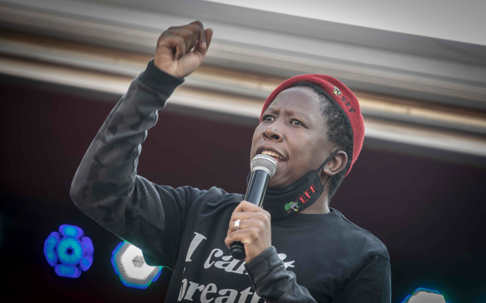 FILE: EFF leader Julius Malema speaks at the party's solidarity protest with the 'Black Lives Matter' movement outside the US embassy in Pretoria. Picture: Abigail Javier/EWN