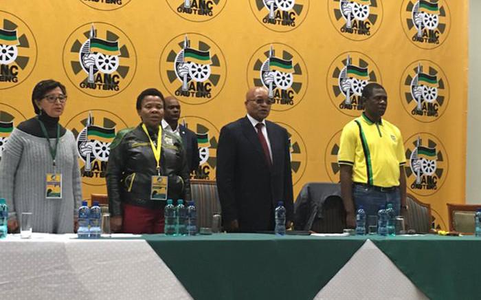 ANC president Jacob Zuma alongside Susan Shabangu and Paul Mashatile at the ANC PCG. Picture: Twitter: @GautengANC