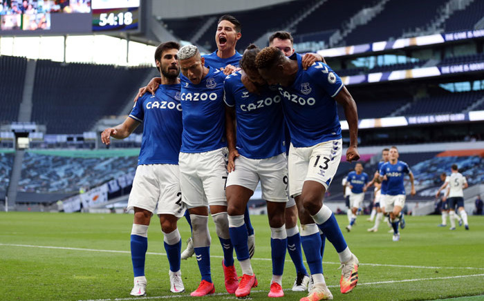Everton players celebrate a goal in the English Premier League match against Tottenham Hotspur on 13 September 2020. Picture: @Everton/Twitter