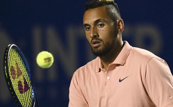 FILE: Australia's Nick Kyrgios hits the ball during his Mexico ATP Open 500 men's singles tennis match against France's Ugo Humbert in Acapulco, Guerrero State, Mexico on 25 February 2020. Picture: AFP
