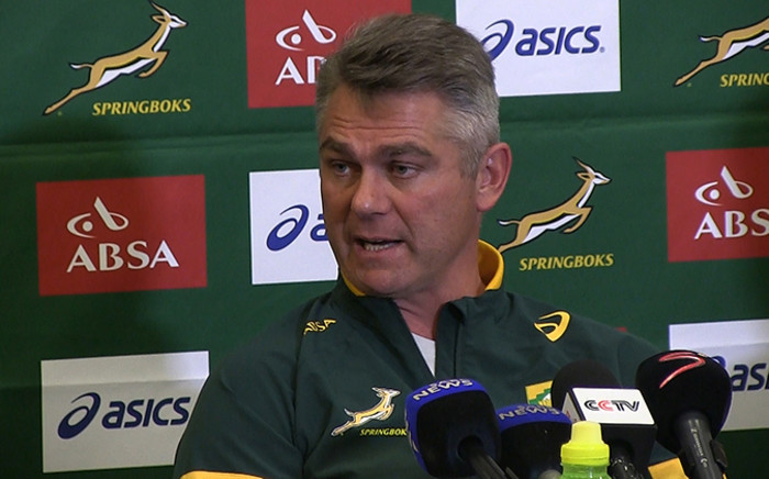 Springbok coach Heyneke Meyer at the team announcement on 13 August 2014 ahead of their clash with Argentina in the Rugby Championship. Picture: Reinart Toerien/EWN
