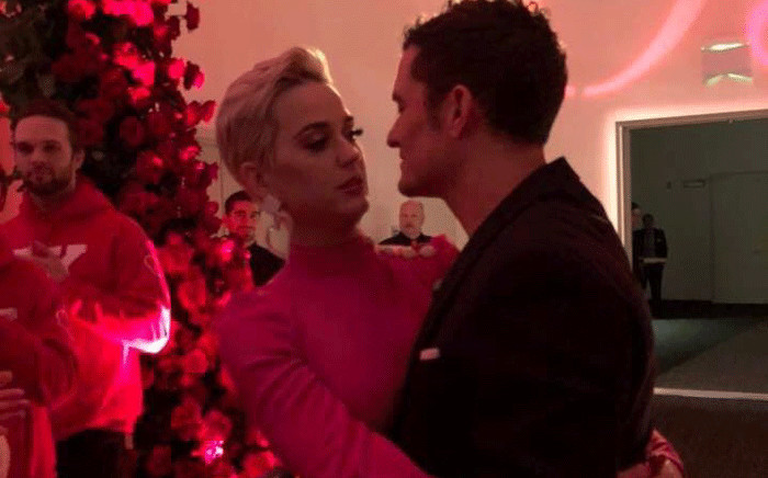 Katy Perry and Orlando Bloom during their engagement party. Picture: @KPInfos/Twitter.