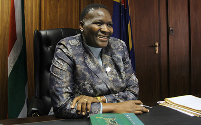 National Police Commissioner General Riah Phiyega is seen behind her desk in her Pretoria office. Picture: Taurai Maduna/EWN.