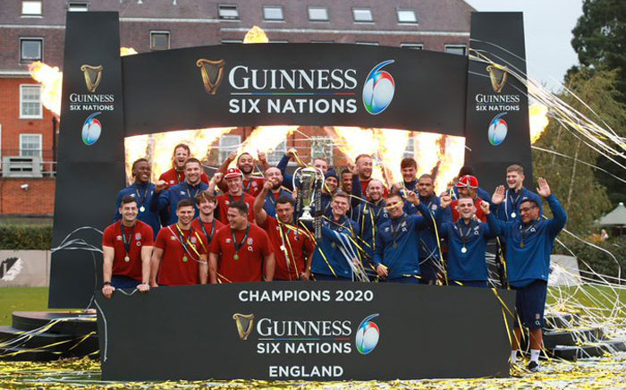 England players celebrate their 2020 Six Nations title win. Picture: @EnglandRugby/Twitter