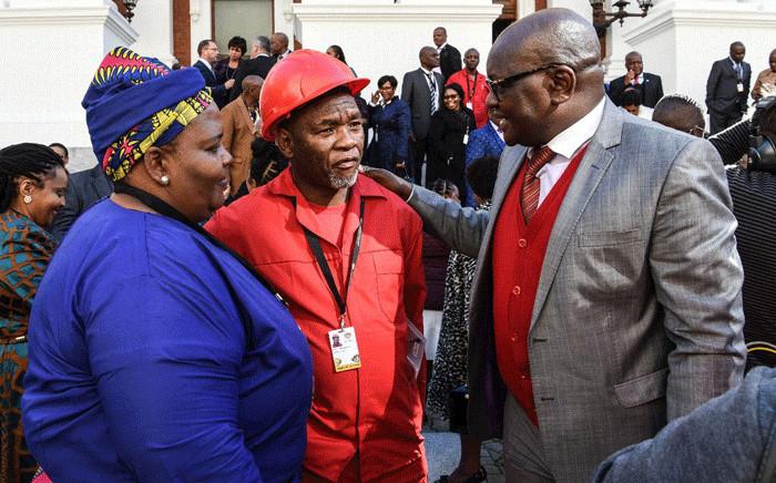 Premier of Gauteng David Makhura congratulating Kenny Motsamai after being sworn in as a member of the NCOP. Picture: @EFFSouthAfrica/Twitter.
