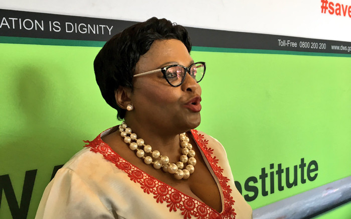 Water and Sanitation Minister Nomvula Makonyane addressing the media at the Women's Dialogue hosted by her department in Sandton. Picture: Katleho Sekhotho/EWN