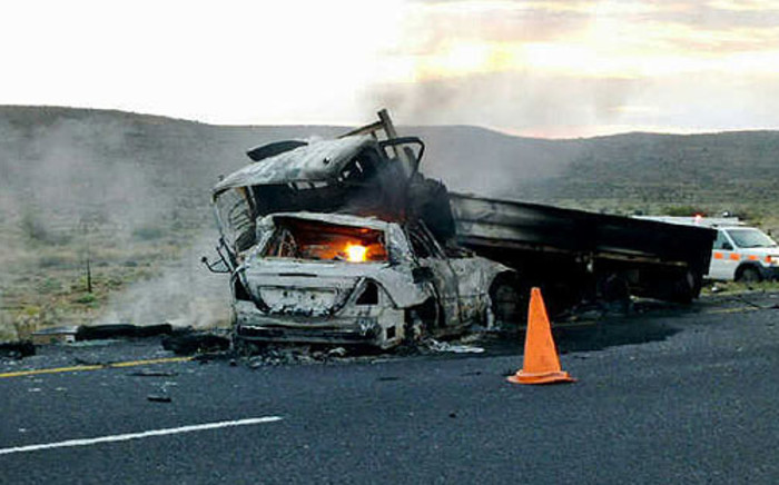 A truck and a Mercedes Benz caught on the N1 near Laingsburg following an on 6 July 2012. Picture: Zain Johnson/EWN
