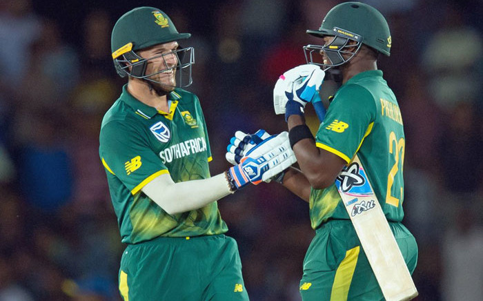 Proteas batsmen celebrate a win. Picture: @OfficialCSA/Twitter