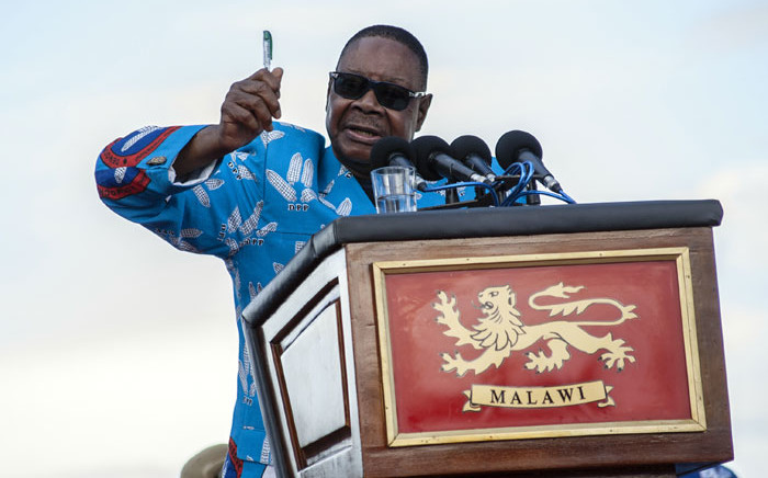FILE: Malawi's President Peter Mutharika addresses supporters. Picture: AFP