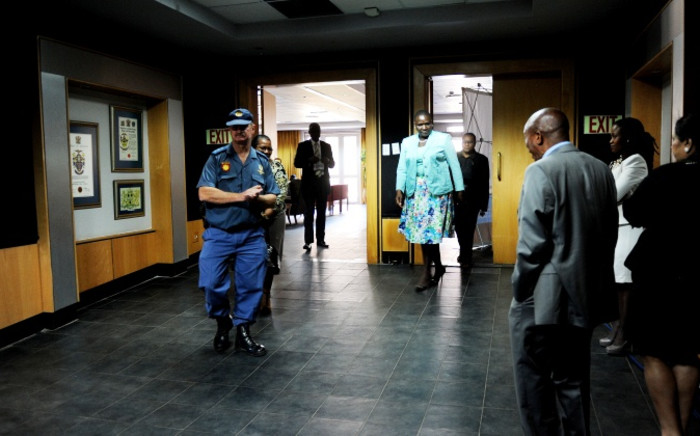 National police commissioner Riah Phiyega (C) returns after a break in proceedings at the Farlam Commission of Inquiry on Wednesday, 10 September 2014. Picture: Sapa.