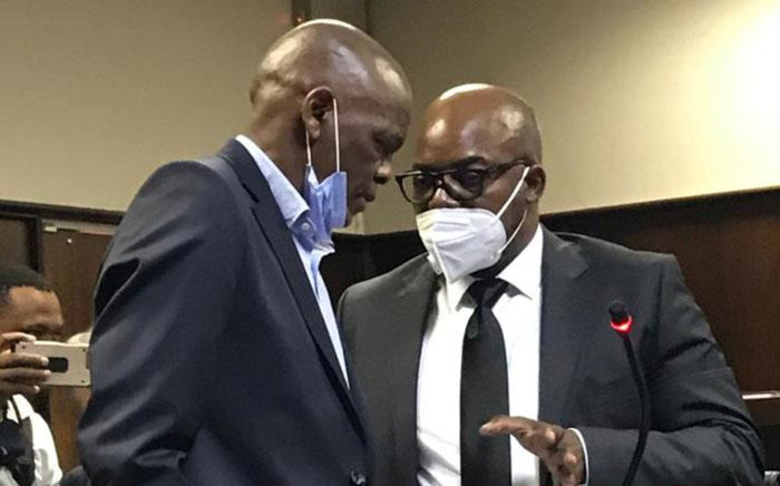 ANC secretary-general Ace Magashule (left) appearing at the Bloemfontein Magistrates Court on 13 November 2020. Picture: NPA