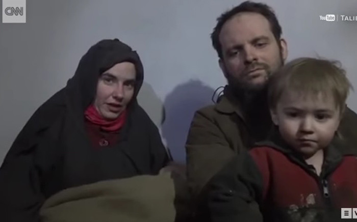 A screengrab of Joshua Boyle, his American wife, Caitlan Coleman, and child.