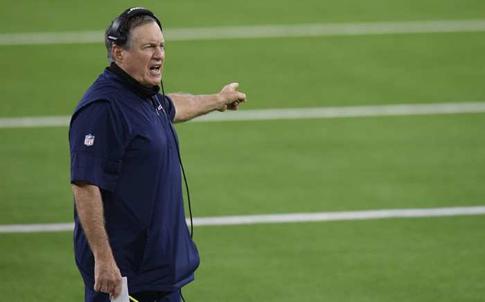FILE: Head coach Bill Belichick of the New England Patriots complains to officials during a 24-3 Los Angeles Rams win at SoFi Stadium on 10 December 2020 in Inglewood, California. Picture: AFP