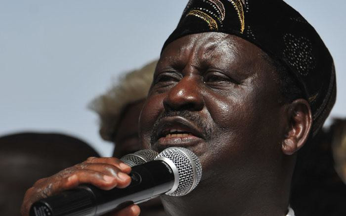 FILE: Kenyan opposition National Super Alliance (NASA) coalition leader Raila Odinga addresses supporters after having himself sworn in as the 'people's president' on 30 January 2018 in Nairobi. Picture: AFP