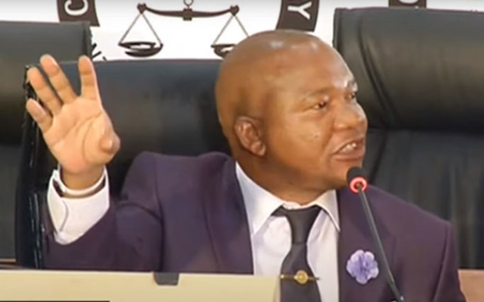 A screengrab of Inspector-General of Intelligence, Dr Setlhomamaru Dintwe, appearing at the state capture inquiry on 12 May 2021. Picture: SABC./YouTube