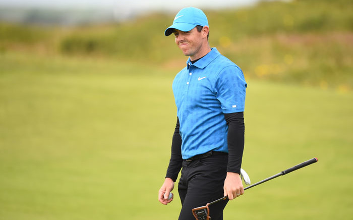 Northern Ireland's Rory McIlroy reacts on the 10th green during the first round of the British Open golf Championships at Royal Portrush golf club in Northern Ireland on 18 July 2019. Picture: AFP