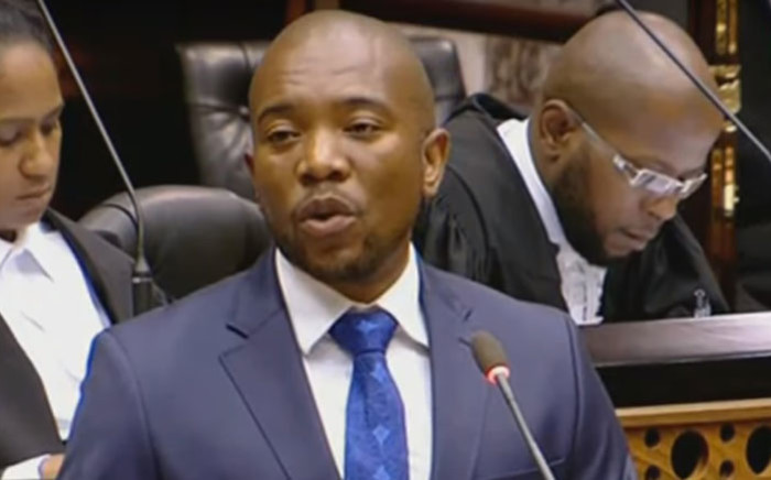 A screengrab of DA leader Mmusi Maimane during the Sona debate in Parliament on 19 February 2018.