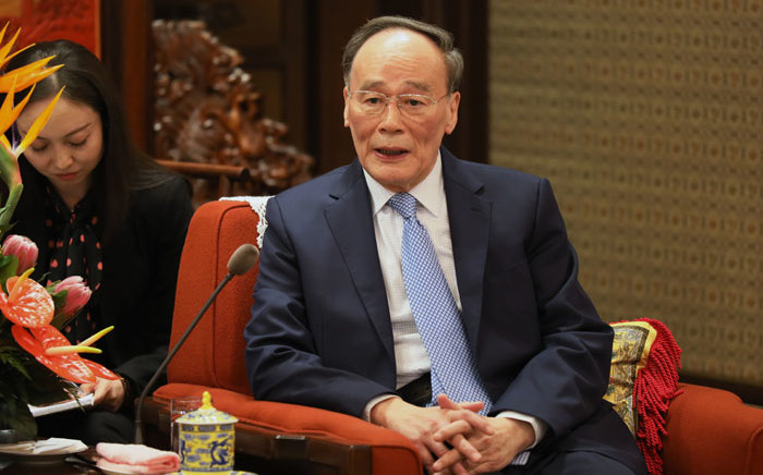 FILE: Chinese Vice President Wang Qishan meets with chairman of the National Security Council of Kazakhstan Karim Masssimov (not seen) at Zhongnanhai in Beijing on 8 April 2019. Picture: AFP