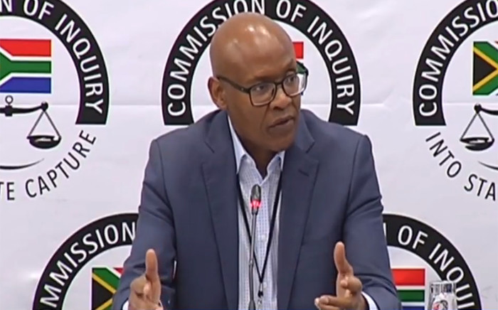 A video screengrab of Mzwanele Manyi appearing at the Zondo Commission of Inquiry into state capture on 26 November 2018.
