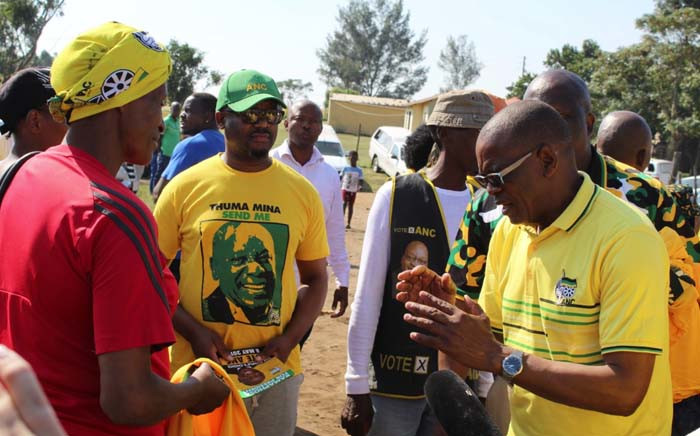 ANC secretary-general Ace Magashule on the campaign trail in KwaMbonambi in KwaZulu-Natal on 2 May 2019. Picture: @MYANC/Twitter.