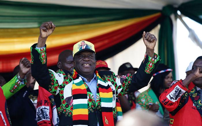 FILE: Zimbabwe's President Emmerson Mnangagwa at a Zanu-PF election rally. Picture: AFP
