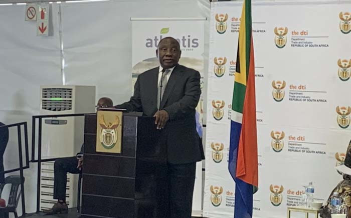 President  Cyril Ramaphosa at the launch of the Atlantis Special Economic Zone on 6 December 2018. Picture: @SAgovnews/Twitter