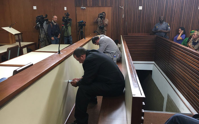 Coffin assault duo Willem Oosthuizen and Theo Jackson in court for their sentencing. Picture: Pelane Phakgadi/EWN.