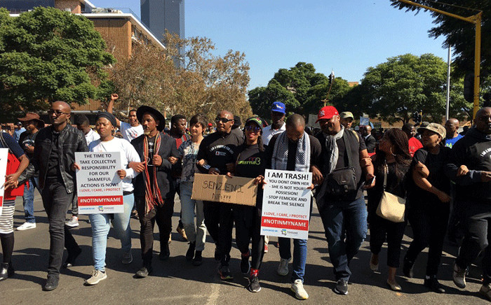 Several people marched to the Union Buildings in Pretoria against the abuse of women and children. Picture: Katleho Sekhotho/EWN.