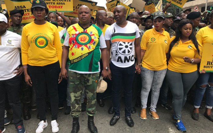 FILE: ANC Youth League leadership leads the march to ABSA in JHB CBD. Picture: Kgothatso Mogale/EWN.
