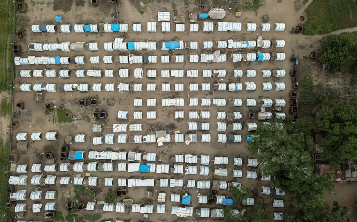 An aerial view of temporary houses in the Napala Agrarian Center of Metuge District, Cabo Delgado, northern Mozambique, on 24 February 2021. The place functions as a centre for displaced people who fled their communities due to attacks by armed insurgents in the northern area of Cabo Delgado's province. Picture: Alfredo Zuniga/AFP