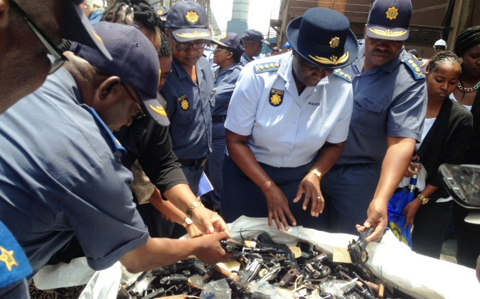 National Police Commissioner Riah Phiyega and a number of senior officers oversaw the destruction of over 4,000 guns on 16 January, 2015. Picture: Vumani Mkhize/EWN.