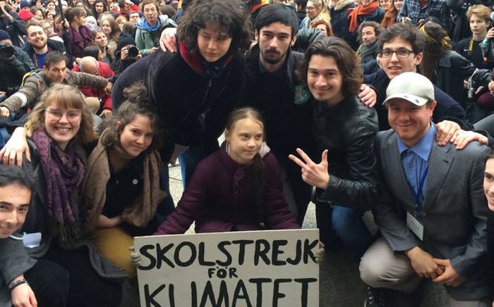 Greta Thunberg with thousands of protesters in the streets of the Swiss city of Lausanne on Friday, 17 January 2020. Picture: Twitter/Greta Thunnberg