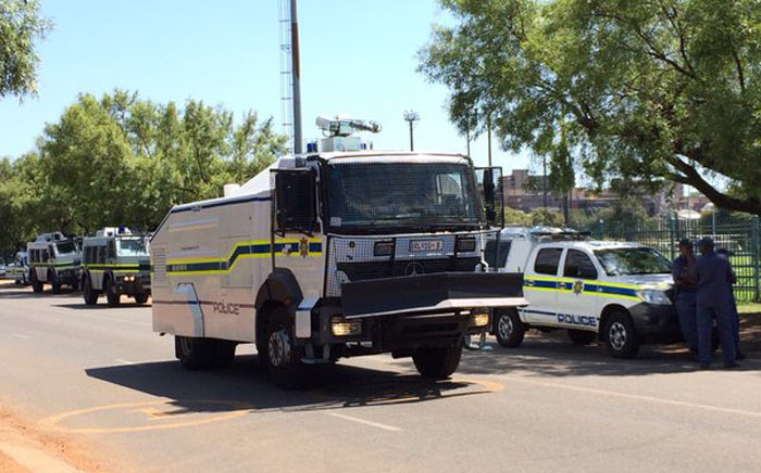 Public Order Police out the Tshwane University of Technology (TUT) during protests. Picture: Barry Bateman/EWN.