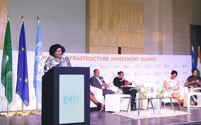 Water and Sanitation Minister Nomvula Mokonyane speaking at the Water Infrastructure Investment Summit in Sandton, Johannesburg. Picture: @DWS_RSA/Twitter.