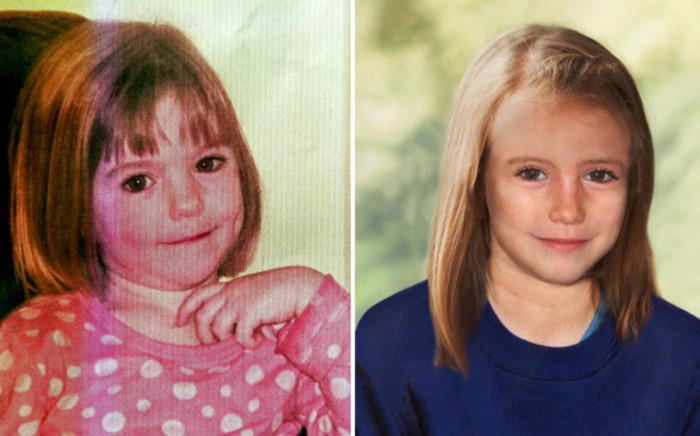 A combination of images created on April 25, 2012 shows an undated handout picture of missing British girl Madeleine McCann taken when she was three years-old (L) and a computer generated handout image released by the Metropolitan Police Service (MPS) on April 25, 2012 showing an age progression picture of how police believe Madeleine would look like in 2012, aged 9. Picture: AFP.
