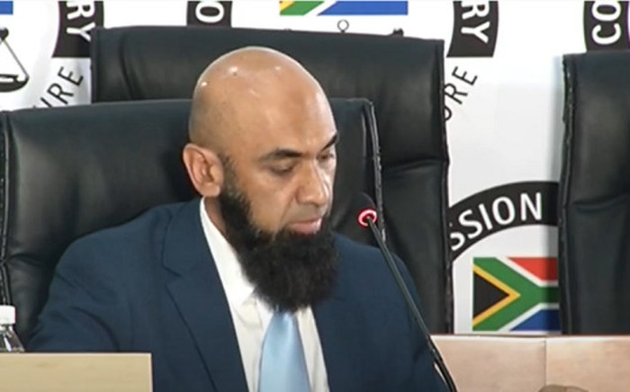 A screengrab of Transnet finance executive Yousuf Laher appearing at the state capture inquiry in Johannesburg on 21 October 2020. Picture: SABC/YouTube