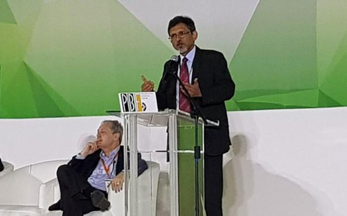 Economic Development Minister Ebrahim Patel addresses the Progressive Business Forum at the Nasrec, Johannesburg on 19 December, 2017. Picture: @MYANC/Twitter