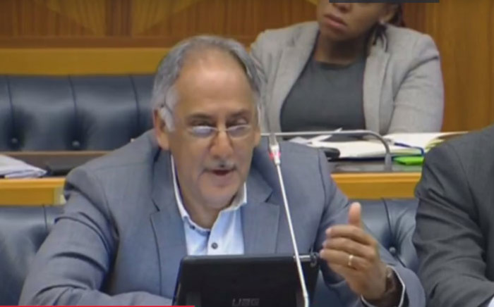 A screengrab of Banking Association of SA CEO Cass Coovadia at Parliament's land expropriation public hearing on 7 September 2018.
