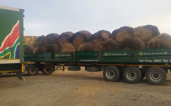 Gift of The Givers delivering the first load of fodder in Sutherland. Picture: @GiftoftheGivers/Facebook.com.