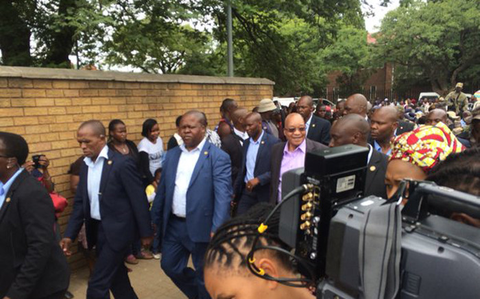 President Jacob Zuma interacted with hawkers and immigrants on the streets of Marabastad in Pretoria. Picture: Barry Bateman/EWN.