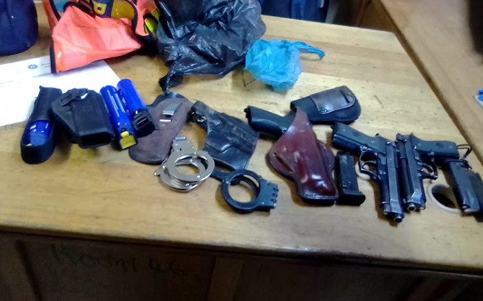 Security officers at Chris Hani Baragwanath Academic Hospital on 20 September 2020 found 47 bullets, three 9mm handguns, two pepper sprays, two handcuffs, one SAPS reflector vest and a police cap at one of the unoccupied doctor's quarters. Picture: Gauteng Department of Health