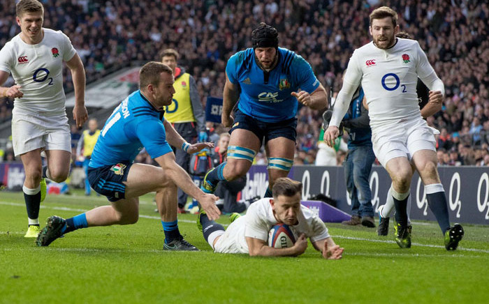 England score a try in the Six Nations match against Italy. Picture: @SixNationsRugby/Twitter