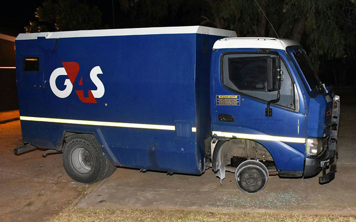 The cash-in-transit van involved in an attempted robbery on 29 May 2018. Picture: @SAPoliceService/Twitter