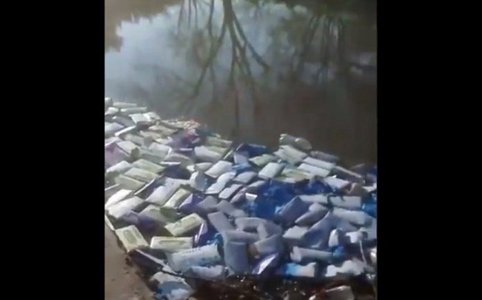 A screengrab of personal protective pquipment (PPE) found dumped in a river in Irene, Centurion.