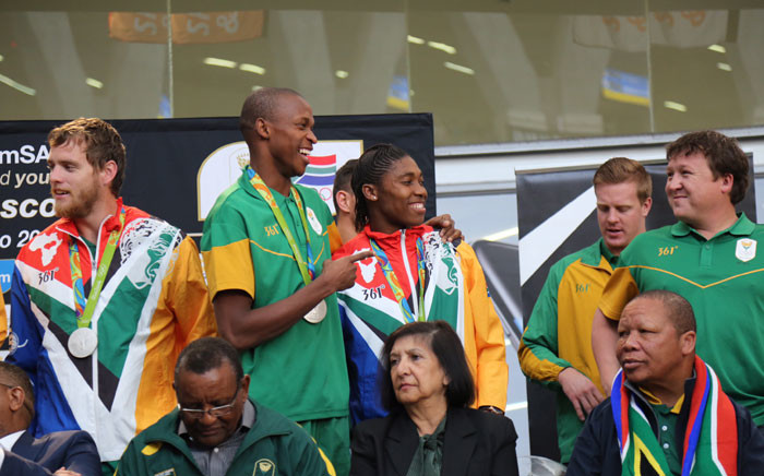 High jump silver medalist Luvo Manyonga and 800m champion Caster Semenya. Picture: Christa Eybers/EWN.